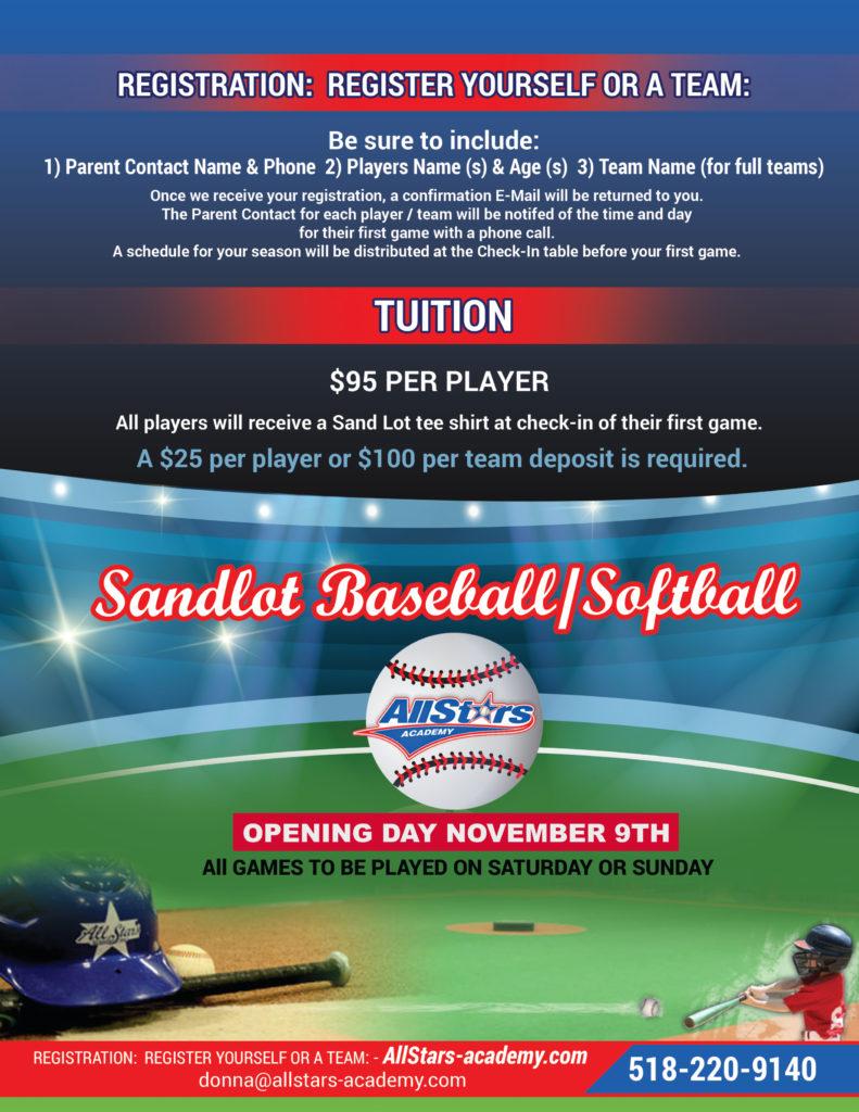 2019 Sandlot baseball flyer