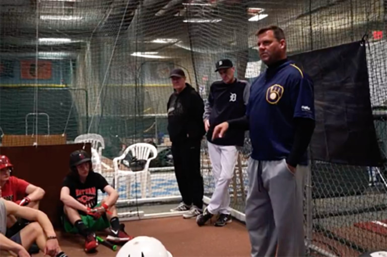 MLB scouts hitting clinic