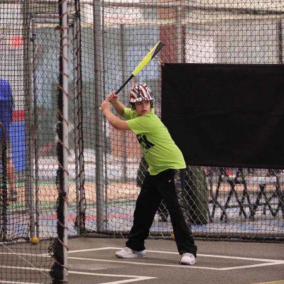 Batter in batting cage