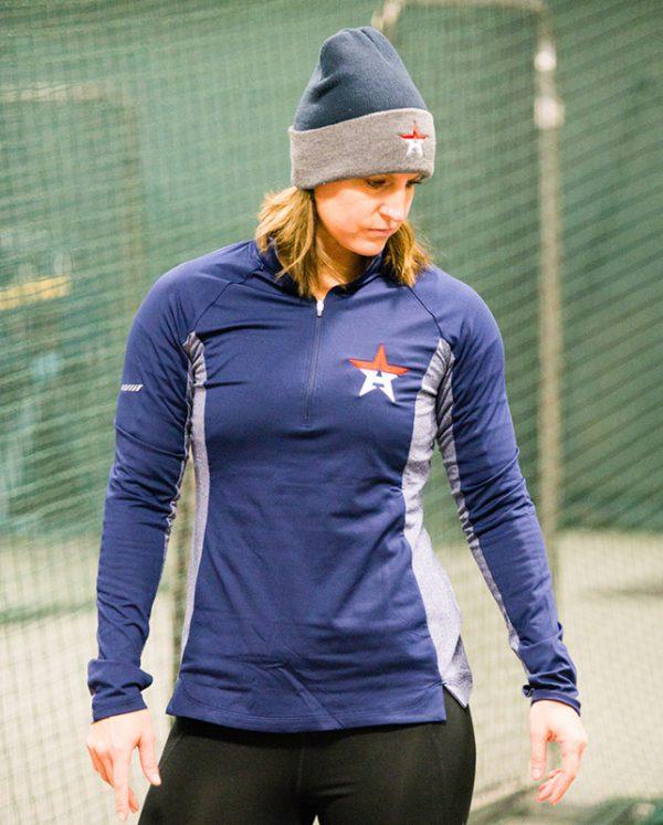 Sport-Tek Ladies Sport-Wick Stretch Contrast 1/2-Zip Pullover